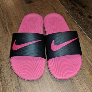 Pink and Black Nike Slides Sandals
